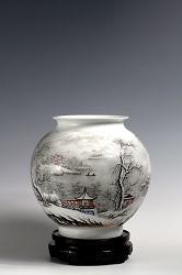 【涂序华作品】雪景山水花瓶