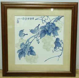 【傅国胜作品】青花刻花葡萄瓷板