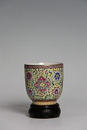 【高仿作品】黄地粉彩杯子